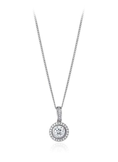 1 Ct Pırlanta Efekt Altın Entourage Kolye-Tophills Diamond Co.
